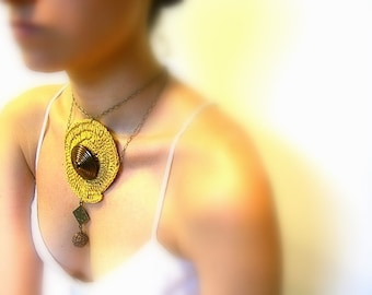 Choker - Crochet Necklace, Choker, Golden Lame, Vintage Button, Brass Chain, Vintage Button