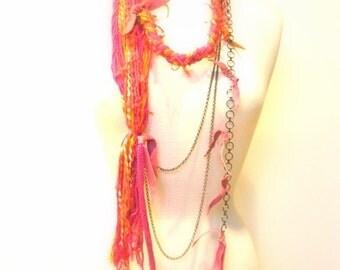 Pink  Fiber Statement Necklace, Belt, Body Jewelry, Cotton Yarn, Chains, Pink, Orange Suede Accent, OOAK