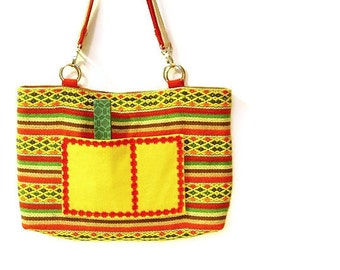 Shoulder Bag, Woven fabric, Double Strap, Multicolor Bright Yellow, Red, Green, Navy blue, Brown, Beige