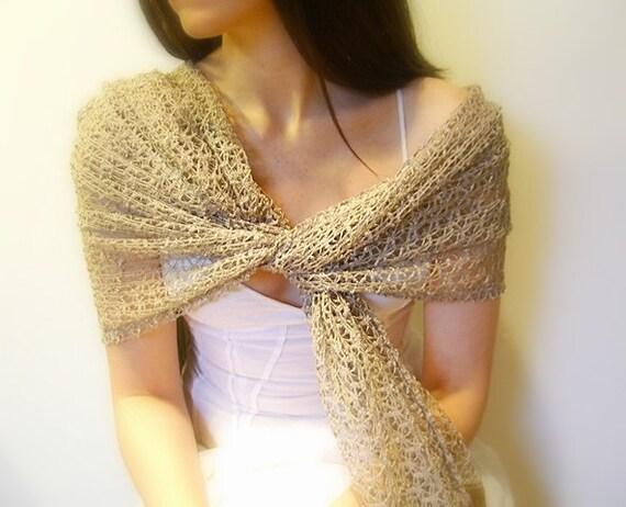 Wrap, Shawl, Scarf, Long, Golen Lace Fabric, Golden Long Fringe
