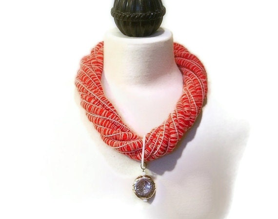 Nautical Statement Necklace, Fiber, Red, White, Mother of Pearl Rectangular Ring, Round Silver Pendant