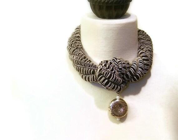 Black Fiber Choker Necklace, Nautical, Knotted Statement Jewelry, Bold Silver Pendant