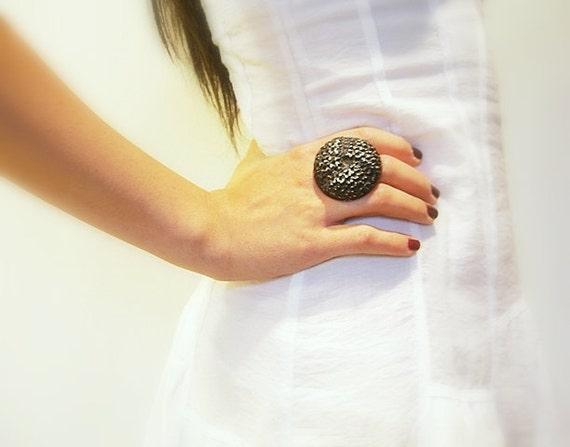 Vintage Button Ring, Adjustable, Large Black Embossed Vintage Button