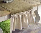 FARMHOUSE CHIC (LARGE) -- burlap table runner with cream muslin ruffle--extra long