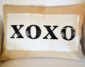 Hugs and Kisses -- farmhouse chic muslin pillow cover with hand stamped XOXO banner 12 x 16