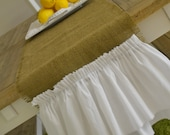WHITE DOUBLE RUFFLE (large) -- burlap table runner with white cotton ruffles -- extra long