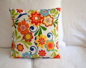 GROOVY -- red, light blue, navy, orange, green, mustard yellow, pillow cover 16 x 16