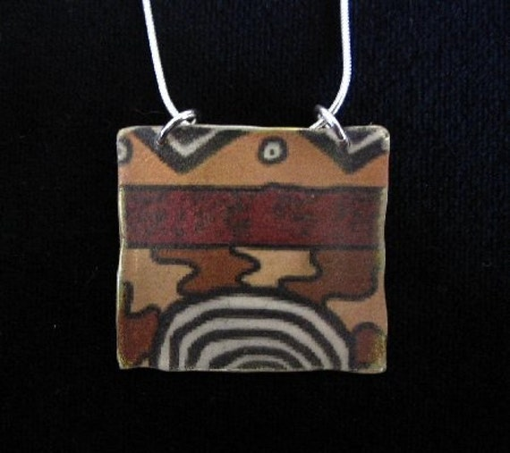 Reversible PMC Silver Pendant with Mud Cloth Image Transfer