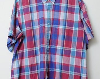 Vintage 90s Short Sleeve Bright Colored Button Up Plaid Shirt