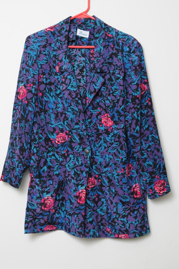 Vintage 80s Bright Colored Floral Sports Jacket