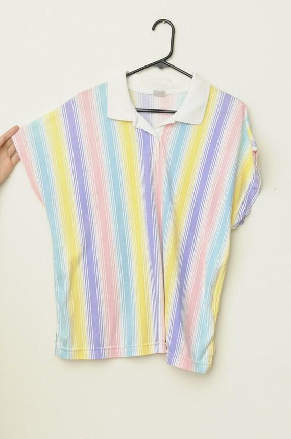Vintage 90s Pastel Striped T Shirt