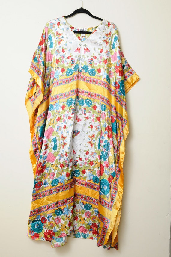 Vintage 90s Bright Flowers and Butterflies Dashiki Dress From Pakistan