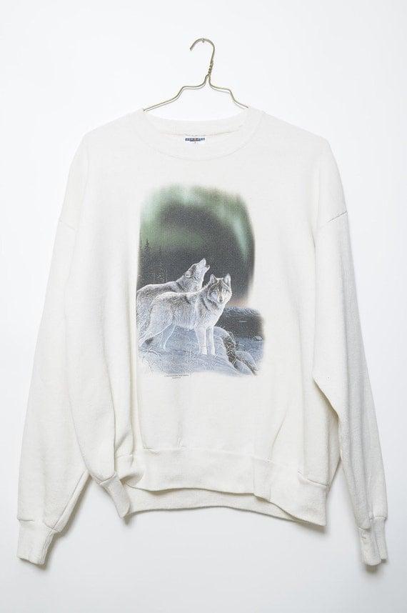 Vintage 90s Snow Wolf  White Sweatshirt