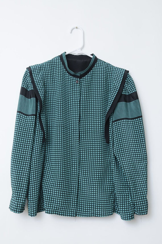Vintage Asian Checkered Teal and Black Ultra Rad And Unique Button Up Shirt