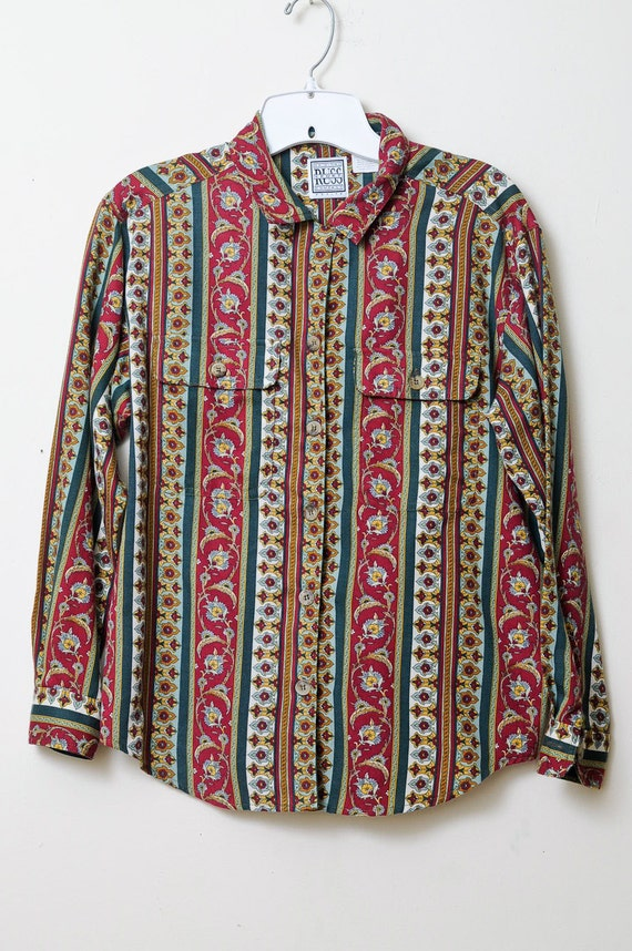Vintage 90s Guatemalan Ethnic Tribal Button Up Shirt