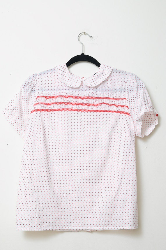 Vintage Cotton White Short Sleeve Shirt With Red Polka Dots and Red Lace Ruffle-Buttons Up The Back