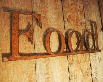 Food, Metal Word Art for Indoors or Outoors