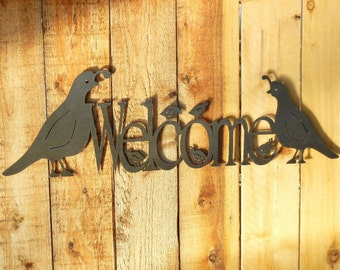 Quail Family Welcome, Metal Word Art for Outoors or Indoors