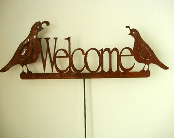 Quail Welcome, Metal Garden Stake