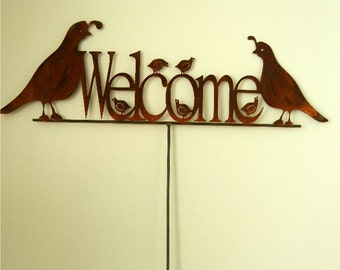 Quail Family Welcome, Metal Garden Stake
