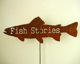 Fish Stories Metal Garden Art