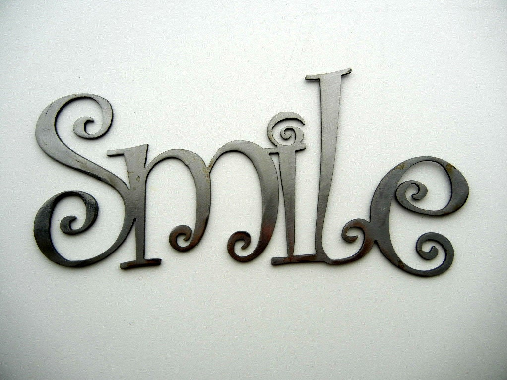 Smile metal word art for Word wall art