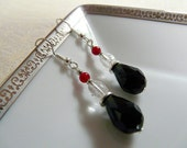Black Tears in the City - Silver Plated Earrings FREE SHIPPING Black Tear Drop Crystals with White Crackle and Red Jade Beads with Silver Spacer Disc