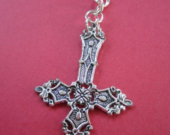 Large INVERTED CROSS Dangle Chain Earring