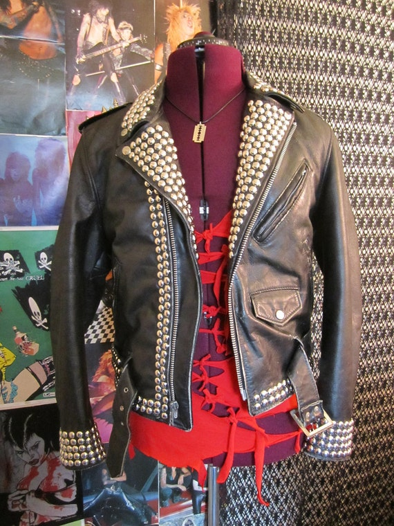 Mens Studded and Spiked Vintage Leather Motorcycle Jacket   - Medium -