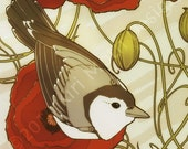 Grey Bird, Red Flowers - Art Nouveau 8.5x11 Print, poppies
