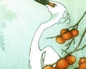 Art Print - Snowy egret and persimmons 8.5x11