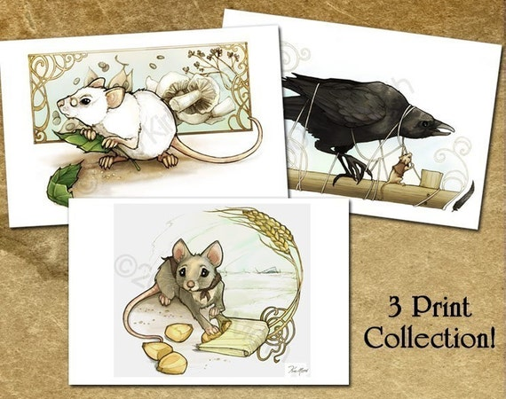 Charming Mouse and Crow 4x6 art prints
