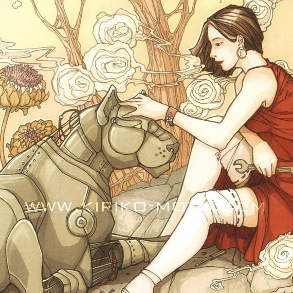 Art Print- Steampunk Girl and Mechanical Lion - Rebuilding