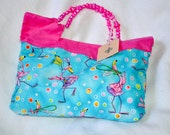 Purse, beach summer fabric, pink flamingo