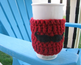 Mustache coffee cozy