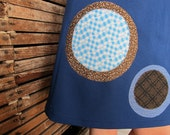 """Women's XL Aline Skirt- """"Robins Egg"""" Bubble Skirt, Vibrant Blue with brown and blue circle applique"""