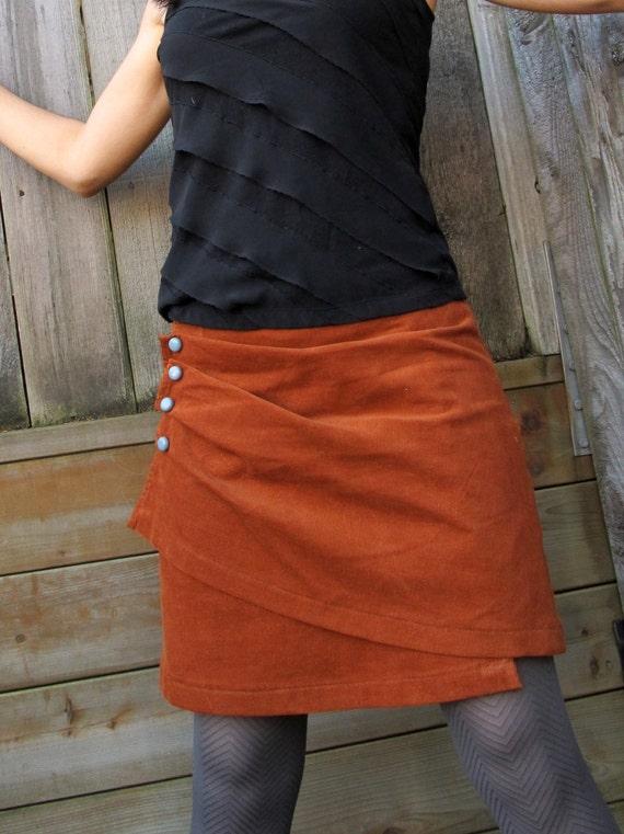 """Burnt Orange Skirt, Women's Corduroy Wrap Skirt, """"The Salted Caramel."""""""