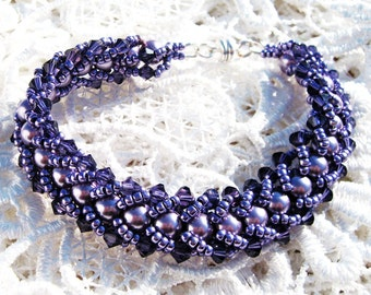 Beaded Flat Spiral Bracelet in Deep Purple Colored Glass Pearls with Crystal