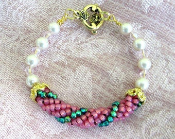 Beaded Bangle Girls Bracelet in Bubble gum Pink and Mint green Beads Spiral Bracelet