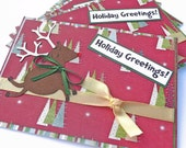 RESERVED for KToves - Rudolph the Red Nose Reindeer Christmas Cards - set of 4 Greeting Cards - 4x6 Handmade Paper Cards