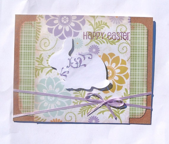Shabby Chic Happy Easter Greeting Card - Handmade Paper Card