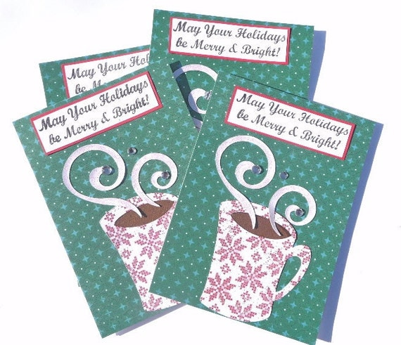 Merry and Bright Hot Chocolate or Coffee Christmas Greeting Cards - Handmade Holiday Paper Cards - Set of 4 Notecards