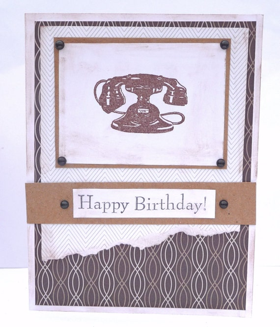 Retro Telephone Happy Birthday Greeting Card - Vintage Inspired For Him - Handmade Paper Card