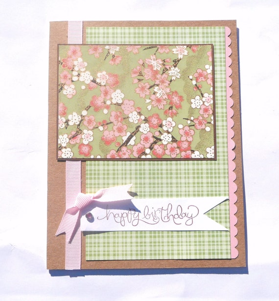 Happy Birthday Greeting Card - Japanese Chiyogami Paper, Handmade Paper Card