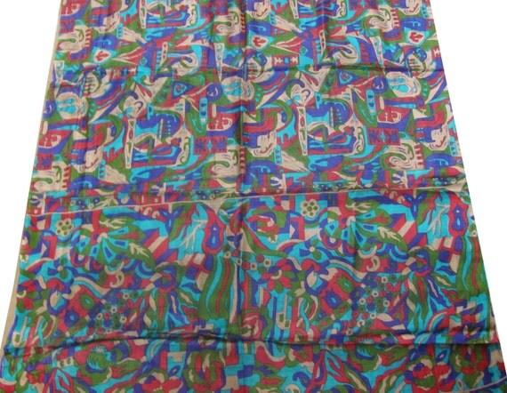 Pure Silk Sari Scrap Fabric Used Vintage Craft Dress Fabric Wrap Sari