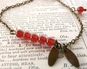 Cherry red delicate bracelet ( botanical, carnelian, beads, red crimson, natural history, fall fashion, woodland ) 05