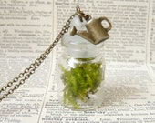Terrarium moss necklace ( green, woodland, hippie, miniature, gardener ) 04
