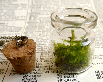 Terrarium necklace pendant green look ( moss, nature, living, ecosystem, forest, woodland ) 29