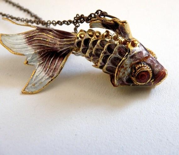 Goldfish Pirate necklace ( sea creatures, cloisonne fish, phlox purple, gold, mermaid, antique, love ) 06