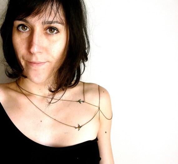 Like a tattoo Bird Shoulder jewelry ( body chain, pirate, spring, sparrow, verdigris, love, harness, goddess ) 27